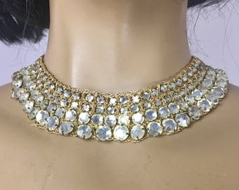 Vintage Rhinestone Collar Necklace / Gold Metallic Croquet Wide Choker 1960s Egyptian Revival Runway Necklace Dramatic