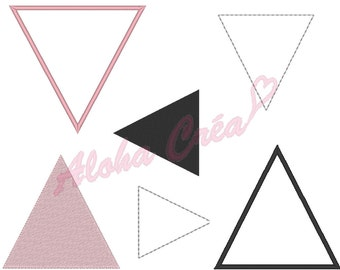 Machine Embroidery Design triangle - pennants Pack (16 sizes) - Instant Digital Download