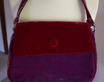 Vintage vibrant velour Powder purple and red bag, 1990s