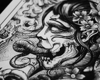 Art print,tattoo print,wall art print,dark art,gothic art,gothic print,skull art,skull print,skull,horror art,horror print,halloween,horror