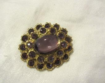 Brass and Purple Rhinestone Brooch with C Clasp