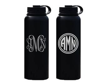 Monogram Water Bottle - 40 oz insulated stainless steel water bottle - monogrammed bottle - insulated water bottle