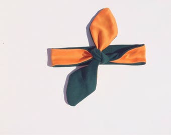 Orange and Green Knotted Headband, Canes Headband, UM Baby, Canes Kids and Teens, Reversible Headband, Adult Headband