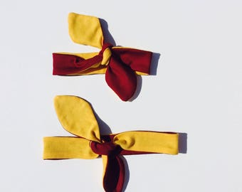 Set of 2 Garnet and Gold Knotted Headbands, Reversible Headbands, Mommy and Me Headbands, Team Color Headbands, Kids and Teens Headbands