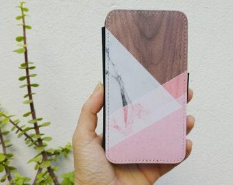 samsung galaxy s6 edge plus wallet case, geometric samsung S7 case wallet, pink marble galaxy s7 wallet case, wood print marble