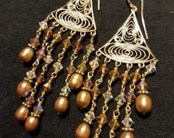 Gold Filigree Chandelier Drop Pierced Earrings