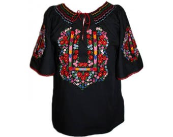 Traditional black  Hungarian Hand Embroidered folk art blouse S, M, L size