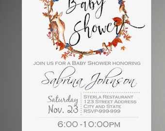 Woodland Baby Shower Invitation, It's a Boy, Deer Invitation, Forest Friends Invitation, Baby Shower Invitation - INSTANT DOWNLOAD