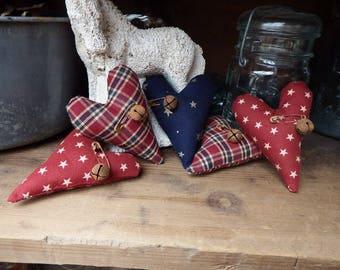 Americana Heart Bowl Fillers, Rustic Homespun Patriotic Hearts, Primitive Fabric Hearts, Small Bowl Fillers, Patriotic Cupboard Tucks