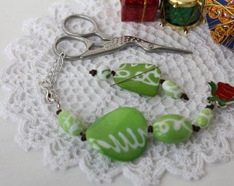 "Christmas Collection: ""Green Christmas"" - OOAK Scissor Fob & Needle Minder Set !!!20% off!!!"