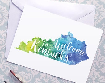 Kentucky Watercolor Map Greeting Card, Welcome to Kentucky Hand Lettered Text, Gift or Postcard, Giclée Print, Map Art, Choose from 5 Colors