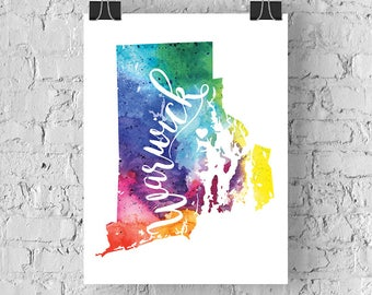 Custom Rhode Island Map Art, RI Watercolor Heart Map Home Decor, Warwick or Your City Hand Lettering, Personalized Giclee Print, 5 Colors