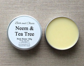Neem & Tea Tree Body Butter, Healing Butter, healing balm, dry skin balm, after sun balm, neem balm, tea tree balm, Neem salve, tea tree oil