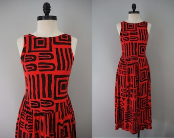 1980s Vintage Black and Red Abstract Graphic Print Dress / 80s Sleeveless Scoop Back Summer Bold Fun Funky Geometric Day Dress / Size M L