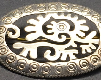 Vtg Taxco Sterling Silver Feathered Serpent Quetzalcoatl Brooch Abstract Mythical Animal Mayan Aztec Open Work Taxco Signed RC Mexican 925 G