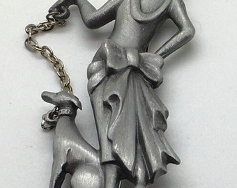 Vintage AJC Lady Woman Walking Dog With Leash Silver Tone Brroch Pin Art Deco Flapper Girl Dalmation High Fashion Whippet Dog Walker