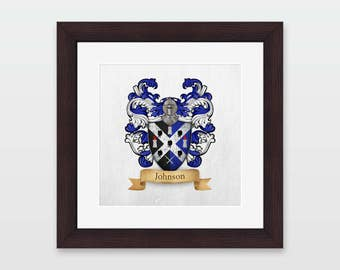 Johnson family coat of arms framed print.