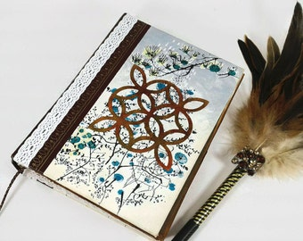 Steampunk Writing Journal-Lined Pages-Diary/Notebook-Upcycled Book-cogs-Celtic-thick journal-200 pages- gift for writers-gift for her