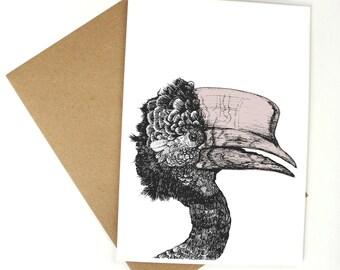 Tropical Hornbill Bird Greetings Card - Birthday / Thank You / Design