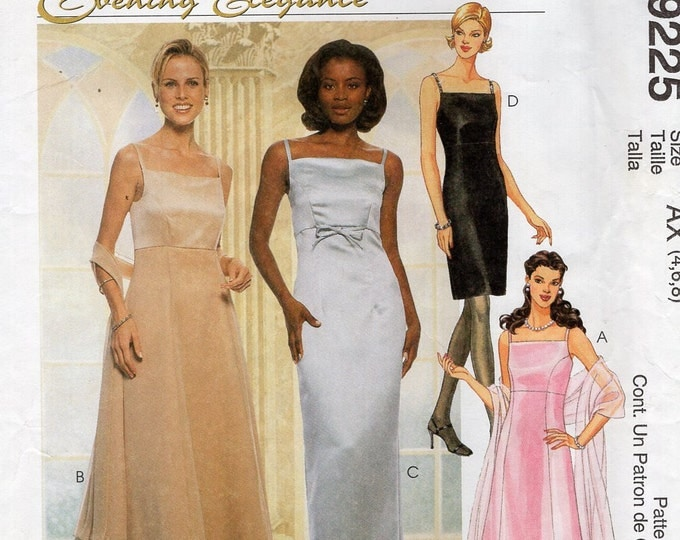 McCall's 9225 Evening Elegance Formal Dress Gown Shawl Size 4 6 8 Bust 29 30 31 Free Us Ship Sewing PatternUncut Prom Tulle 1996