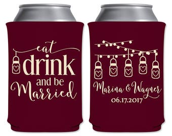 Wedding Custom Can Holders Beverage Insulators Personalized Wedding Favors | Eat Drink and Be Married Rustic Mason Jars | READ DESCRIPTION