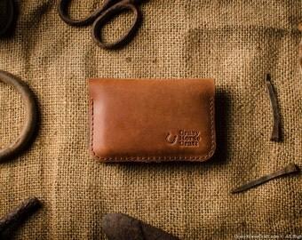 Business card case, business card holder, leather credit card holder, wallet, orange leather credit card organiser, wool felt.