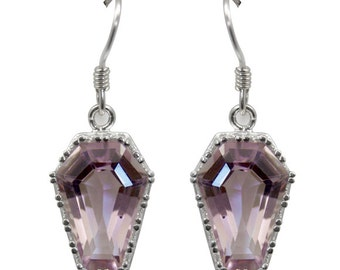 Coffin Earrings 10ct Natural Pink Amethyst Solid Silver