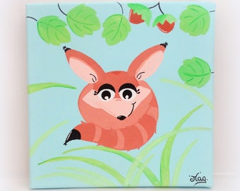 Kids painting, fox painting, red fox in the forest, baby wall art, fox painting for baby nursery, baby's room wall decor, art on canvas