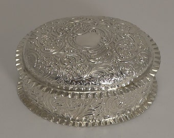 Grand Large Antique English Sterling Silver Box - 1894