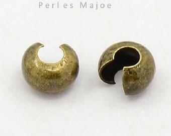 Lot de 100 caches perles à écraser couleur bronze diamètre 4 mm