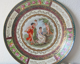 Antique Porcelain Wall Plate with Fragonard Decor, Jungerhans