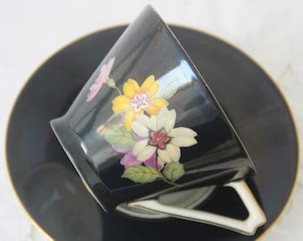 Vintage Royal Epiag Black Porcelain Teacup and Saucer, Flower Decor
