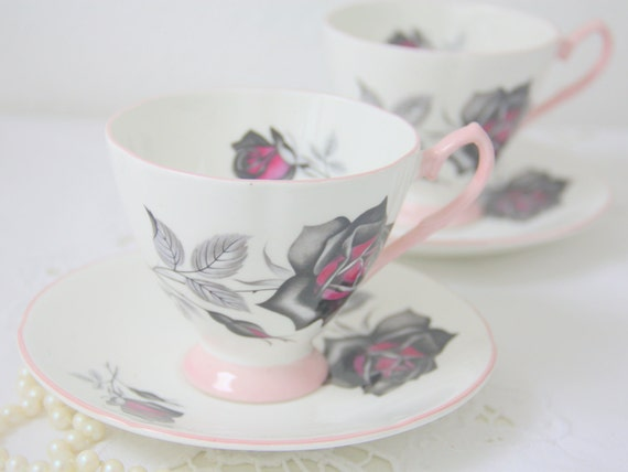 Set of Two Vintage Care Bone China Cup and Saucers, Light Pink Accents, Rose Decor, England