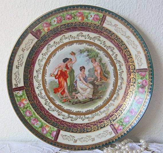 Antique Porcelain Wall Plate with Fragonard Decor, Jungerhans