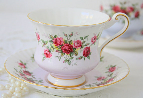 Vintage Paragon Bone China Gentleman Size Cup and Saucer, White and Lavender, Red and Pink Roses Decor, England, Numbered