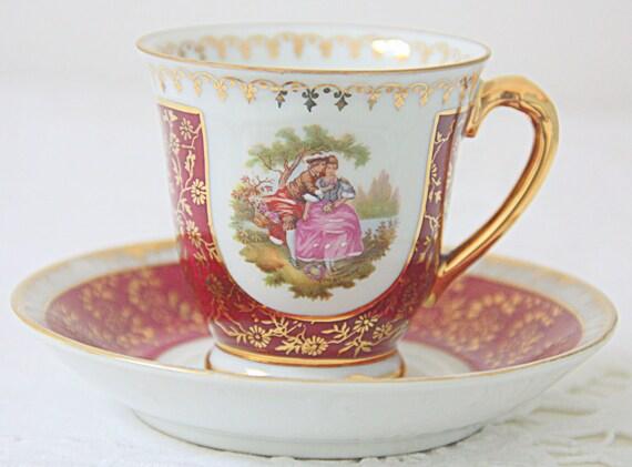 Vintage Mismatched Porcelain Demitasse Cup and Saucer, Love Story Decor, Real Gold Gilding, Limoges and Treves