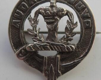 "Vintage Buchanan Clan ""Audaces Juvo"" Silver Clan Badge - Edinburgh Silver 1952 - maker Thomas Ebbut- 31mm x 25mm."