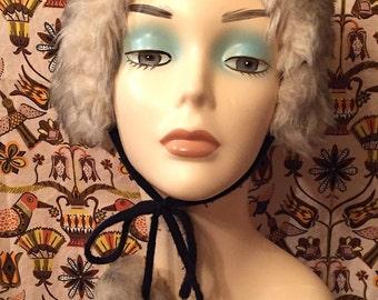 Vintage 1970's Faux Fur Hat with Pom Poms Mod Snow Bunny Boho Hippie Winter Hat Festival