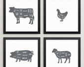 SALE Set of 4 butcher prints – Butcher poster set – Butcher chart set – Butcher diagram set – Meat cuts – Kitchen art – Kitchen prints –BUT