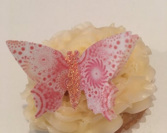 12 Precut Handmade Pink Swirl Patterned 3D Effect Coral Glitter Body Butterfly Edible wafer paper Cake Topper Decoration