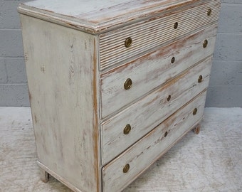 Vintage Cream Painted Swedish Gustavian Style Chest of Drawers