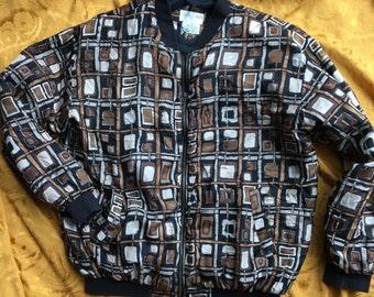 Zip Up Lightweight Squares Rectangles Silk Bomber Jacket Medium
