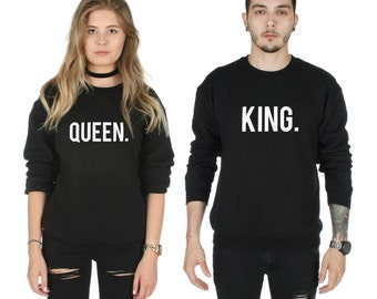 King and Queen Sweatshirt Sweaters Jumpers Top Fashion His and Hers Matching