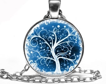 White Whimsical Tree - Handmade Pendant Necklace