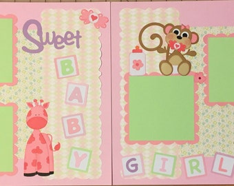 Baby Girl premade Scrapbook pages