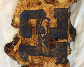Laser Engraved, Wood Stained Seahawks Burl