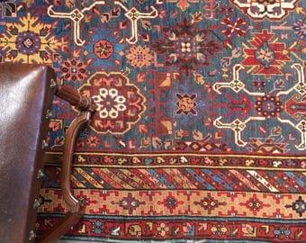 Antique Caucasian Rug 6x12ft Rare Kuba Baku Afshan Rug Superb Colors