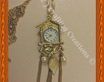 Cuckoo Clock Pendant Necklace