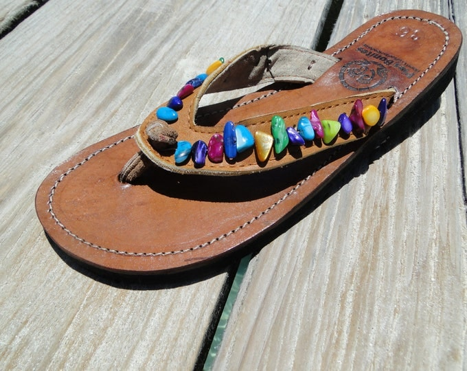 Rainbow Beaded Leather Sandals from Honduras - Fair Trade - Brown Leather Beaded Flip Flops
