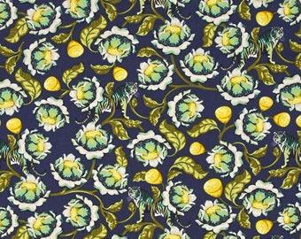 Tula Pink; Eden; Lotus in Midnight; 1/2 yard cotton woven fabric